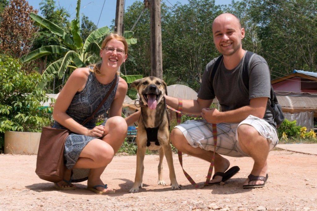 Fotoshooting mit einem der Hunde im Lanta Animal Welfare