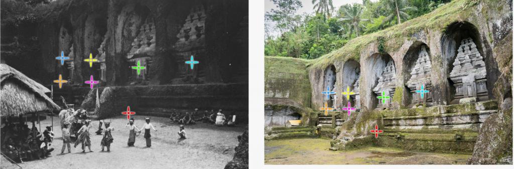 Ausrichten einer Refotografie des Pura Gunung Kawi auf www.re.photos