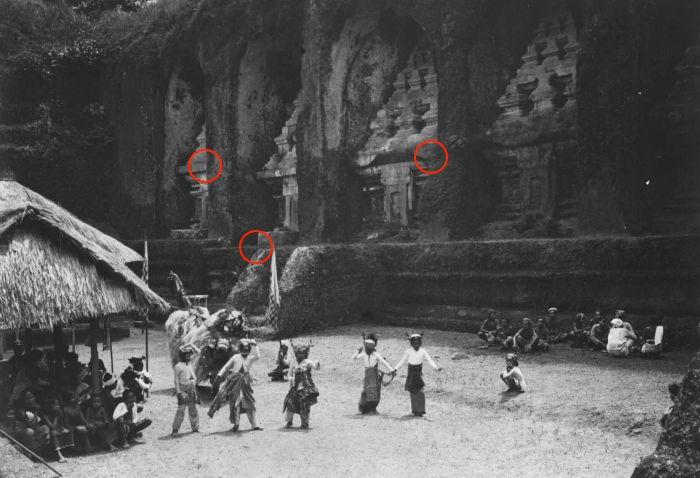 Barong-Tanz vor dem Pura Gunung Kawi (Tropenmuseum, 1910-1925)
