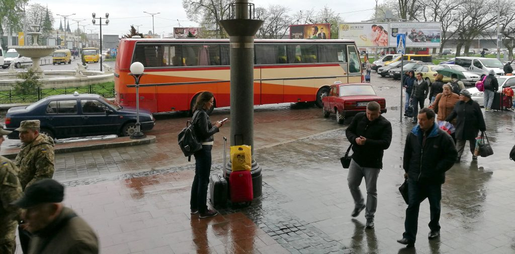 Der Bahnhofsvorplatz in Lemberg
