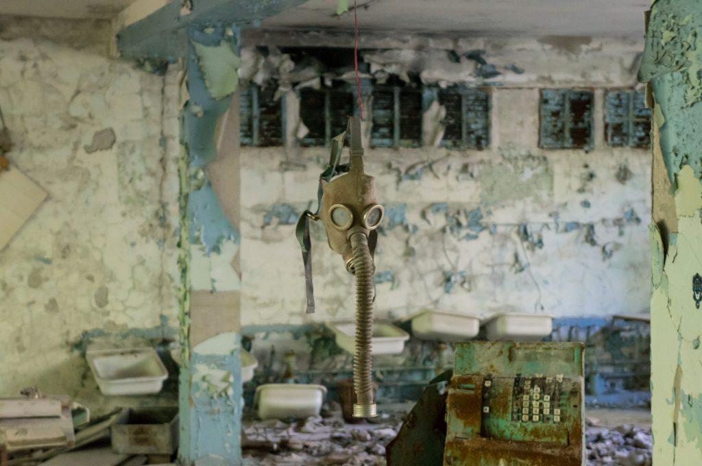 Zurückgelassene Gasmaske in Tschernobyl