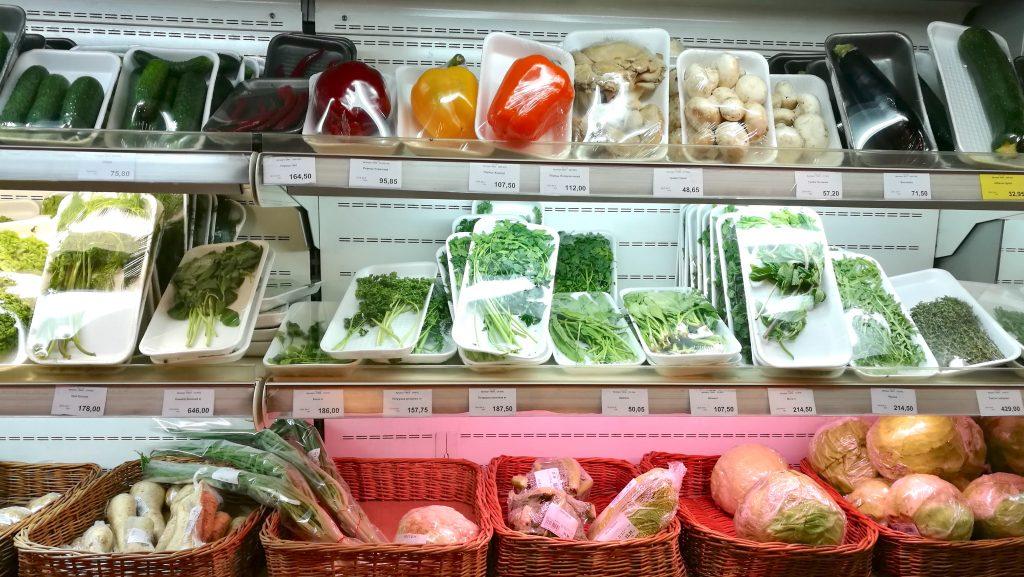 Importierte Lebensmittel im Рукавичка-Supermarkt